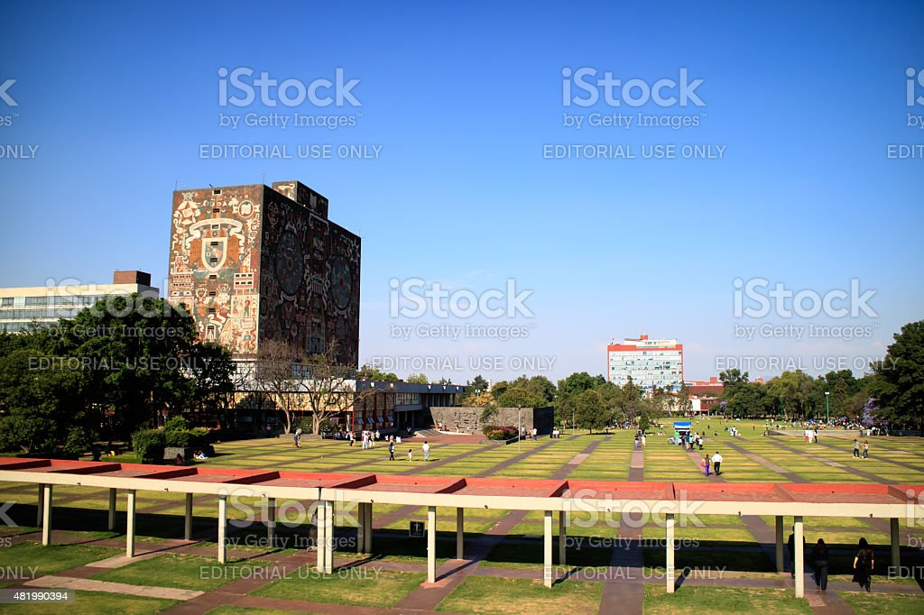 Main library, UNAM campus stock photo