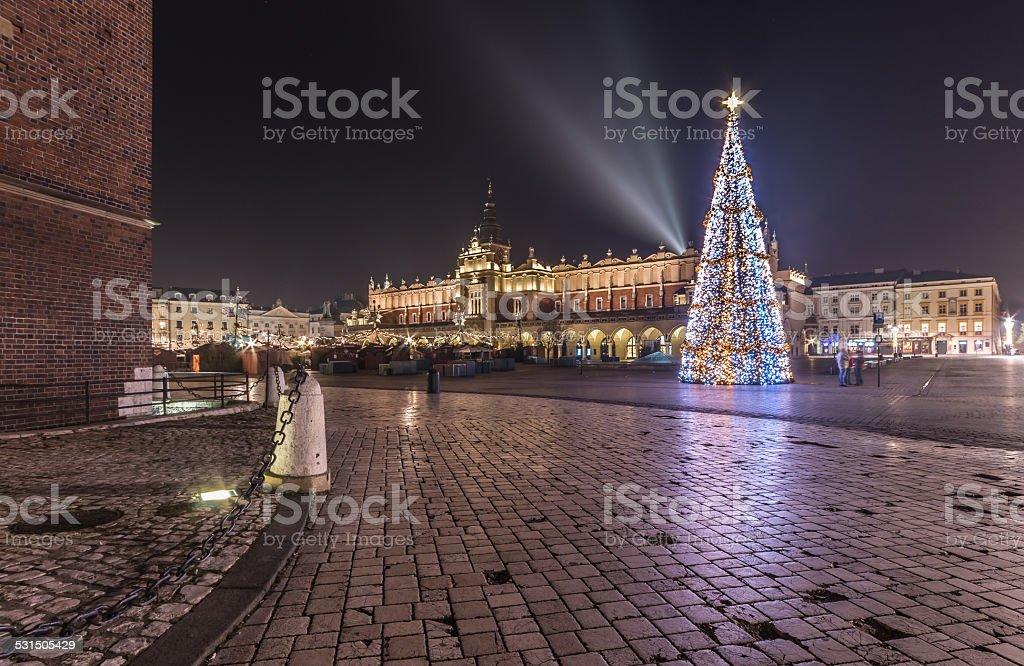 Main Market square in Krakau an Weihnachten – Foto