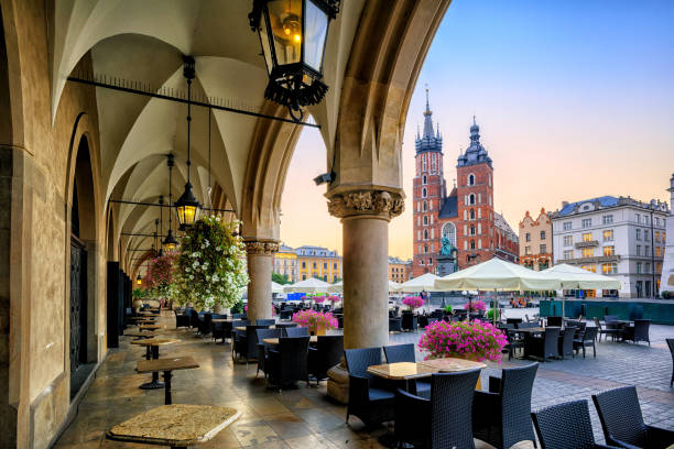 Main Market Square in Krakow, Poland stock photo
