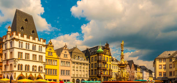 Main Market Trier Rhineland Palatinate Germany. stock photo