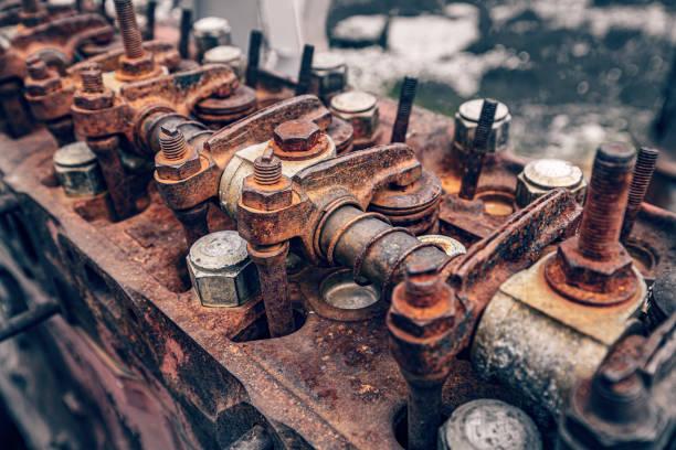 Main part of rusty engine stock photo
