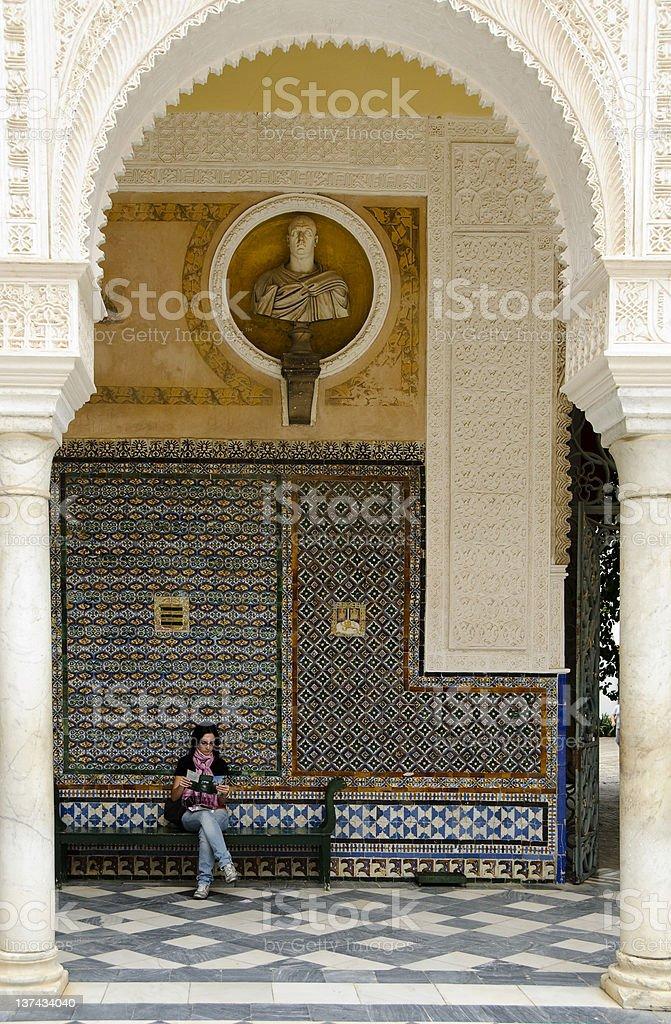 Main patio of Casa de Pilatos in Seville, Spain royalty-free stock photo