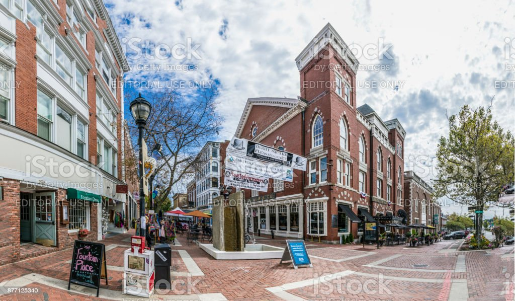 main pedestrian zone downtown Salem with shops and historic buildings and the whitch walk. royalty-free stock photo