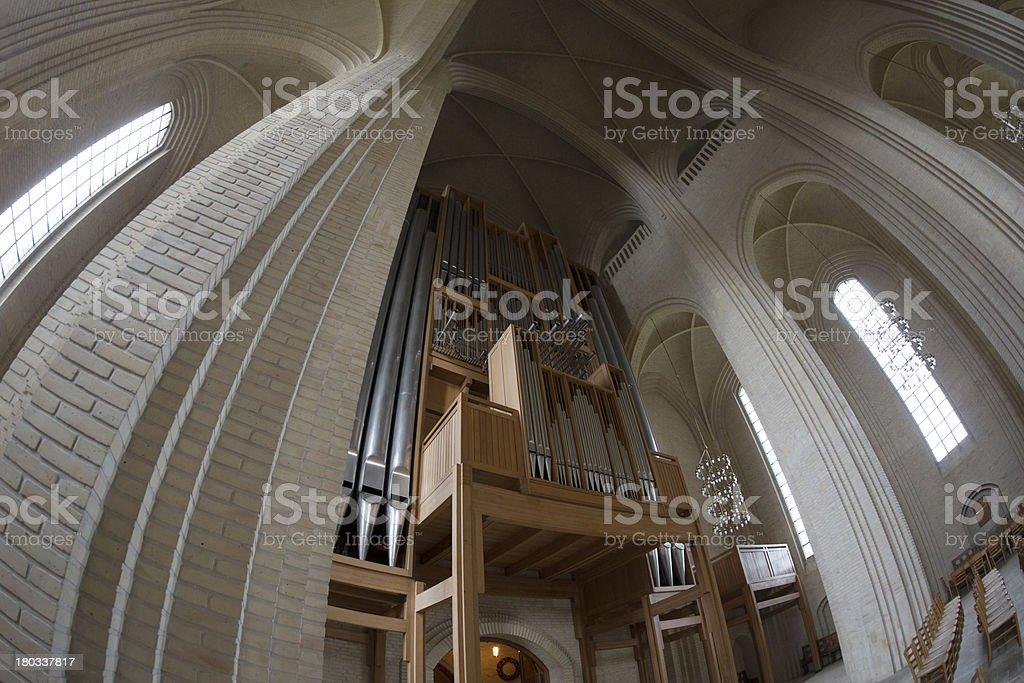 Main pipe organ of Grundtvig Church, Copenhagen, Denmark royalty-free stock photo