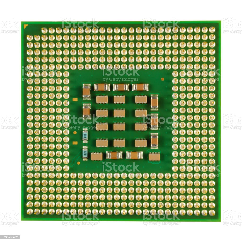 Main processor of desktop computer close-up isolated on white background stock photo
