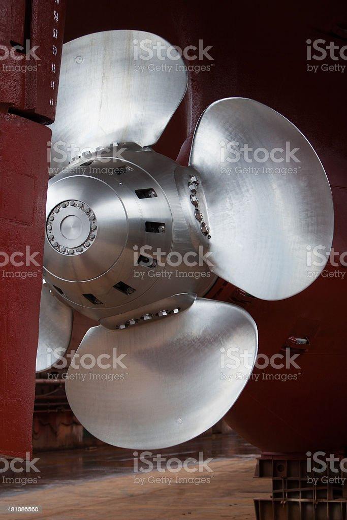 Main propeller and stern stock photo