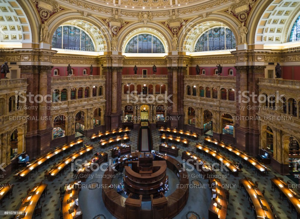 Main Reading Room in Library of Congress, Washington, D.C. USA stock photo