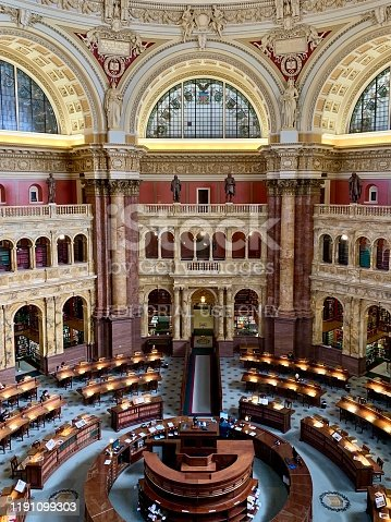 Washington, DC, United States - November 26, 2019: The main reading room of the Library of Congress in Washington, DC.