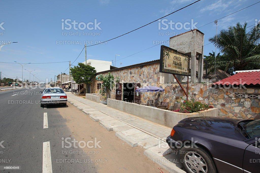 Main Road from Togo to Benin, Chez Alice, Avepozo 2012 stock photo