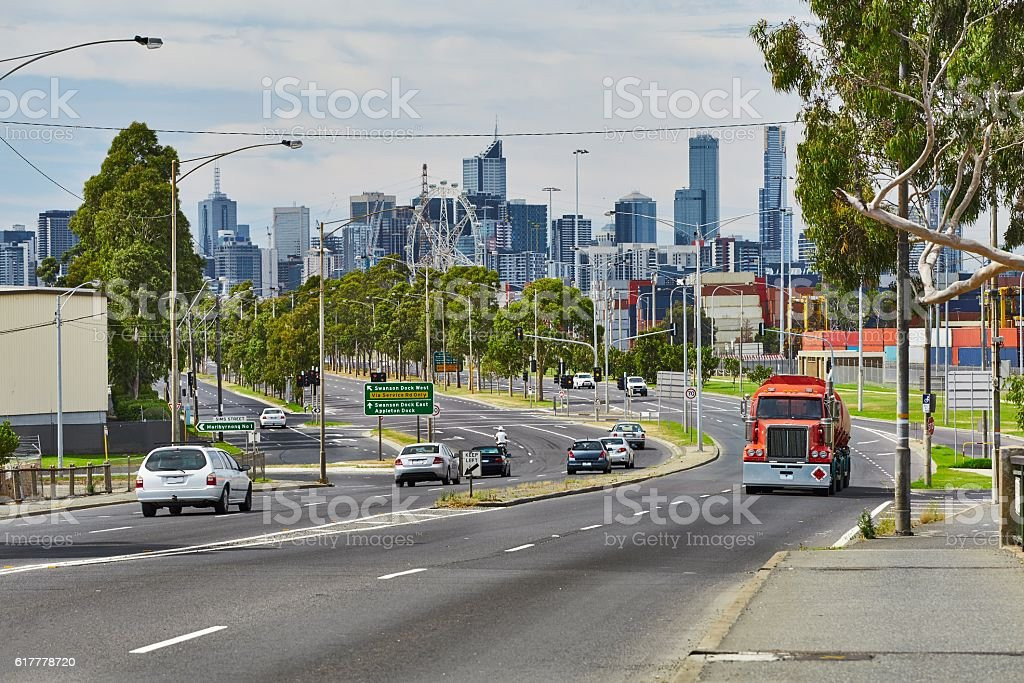 Main road in Melbourne stock photo