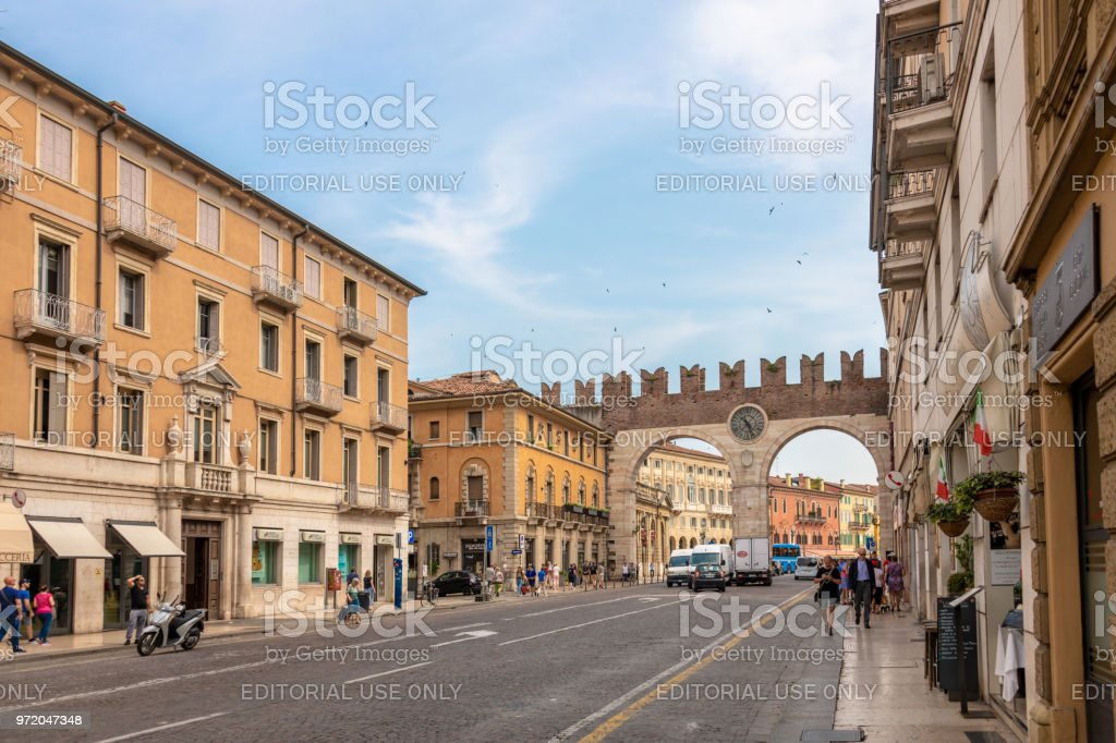 Main road into the centre of old town Verona, Italy stock photo
