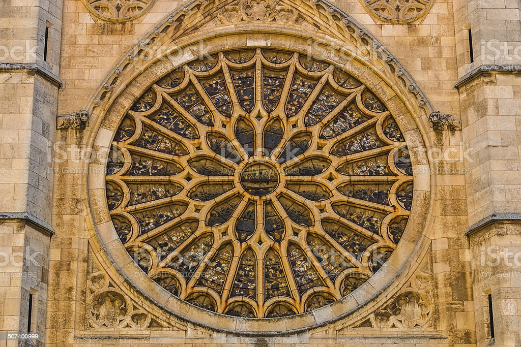 Main rose window of Leon gothic cathedral in Spain stock photo