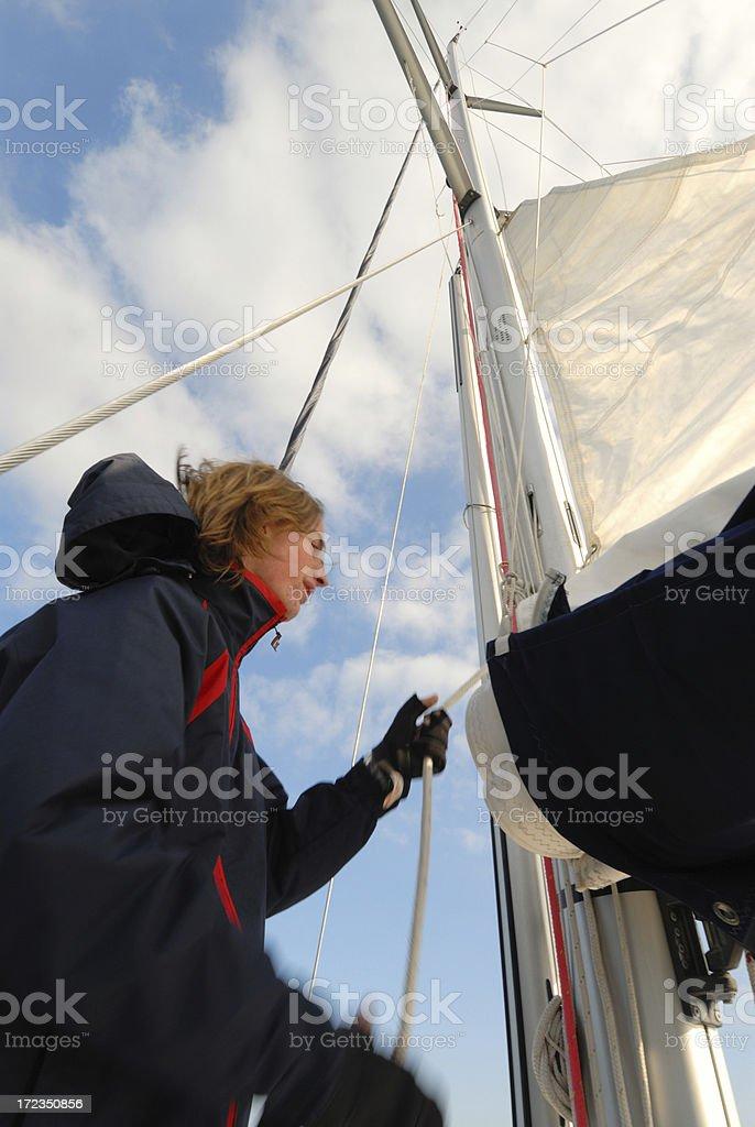 Main sail lifting royalty-free stock photo