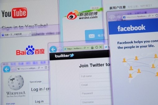 Guangdong, China -  March 26th, 2012: Main social network website collection in China (Google, Facebook, Twitter, Youku, Sina weibo,Tudou,Wiki,Baidu,Youtube) on computer screen.