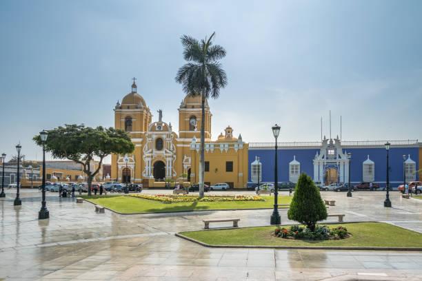 Main Square (Plaza de Armas) and Cathedral - Trujillo, Peru stock photo