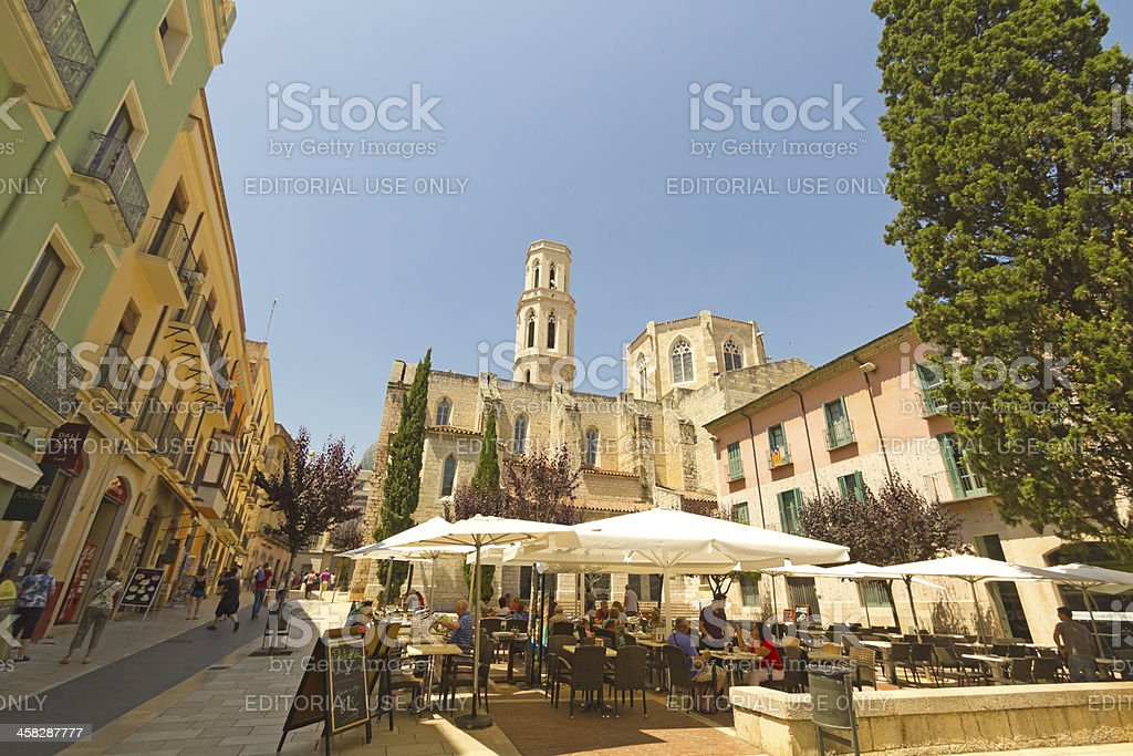 Main square, Figueres, Spain stock photo