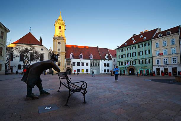 Main square in Bratislava stock photo