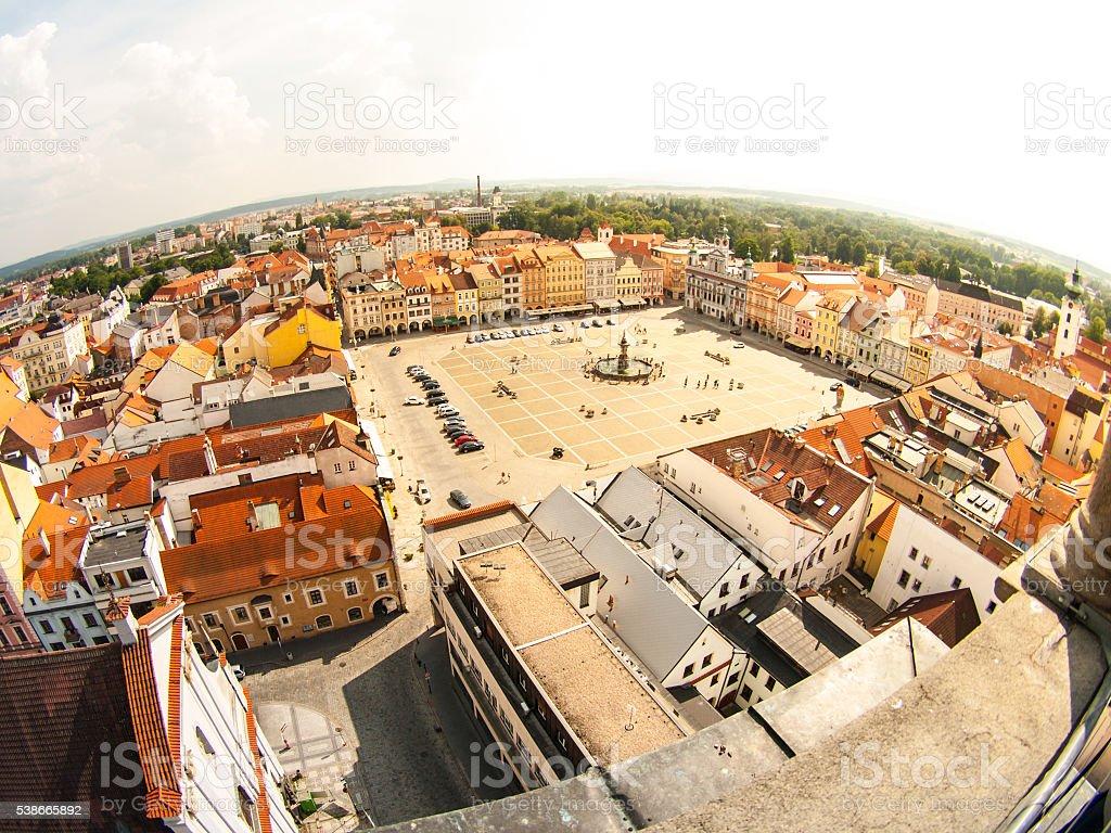 Main square in Ceske Budejovice stock photo