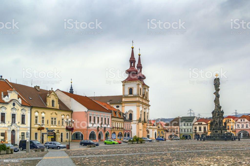 Main square in Kadan, Czech republic stock photo