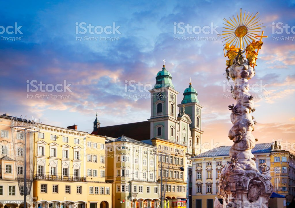Main square in Linz with Alter Dom and Holy Trinity column stock photo