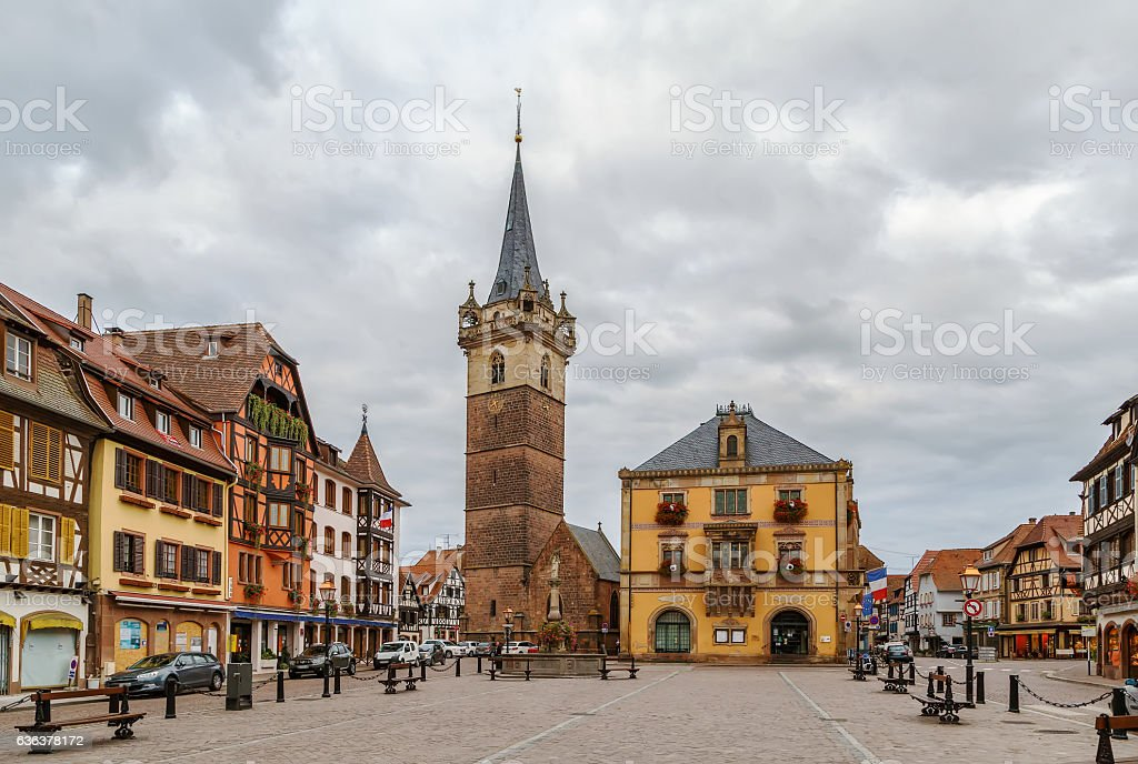 Main square in Obernai, Alsace, France stock photo