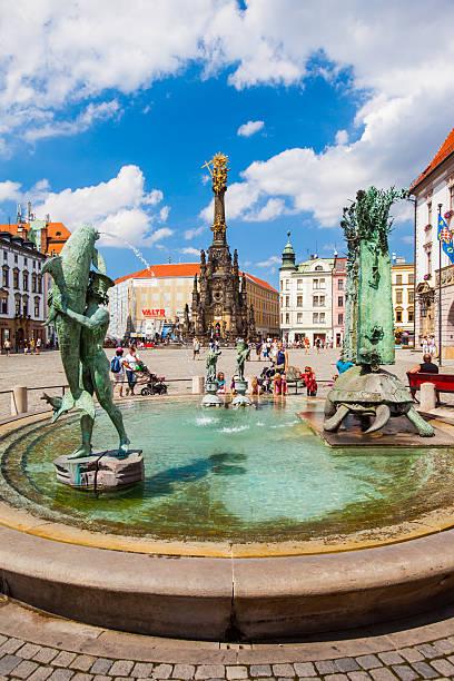 Main square in Olomouc, Tschechische Republik. UNESCO ZUM WELTKULTURERBE ERKLÄRT WURDE. – Foto
