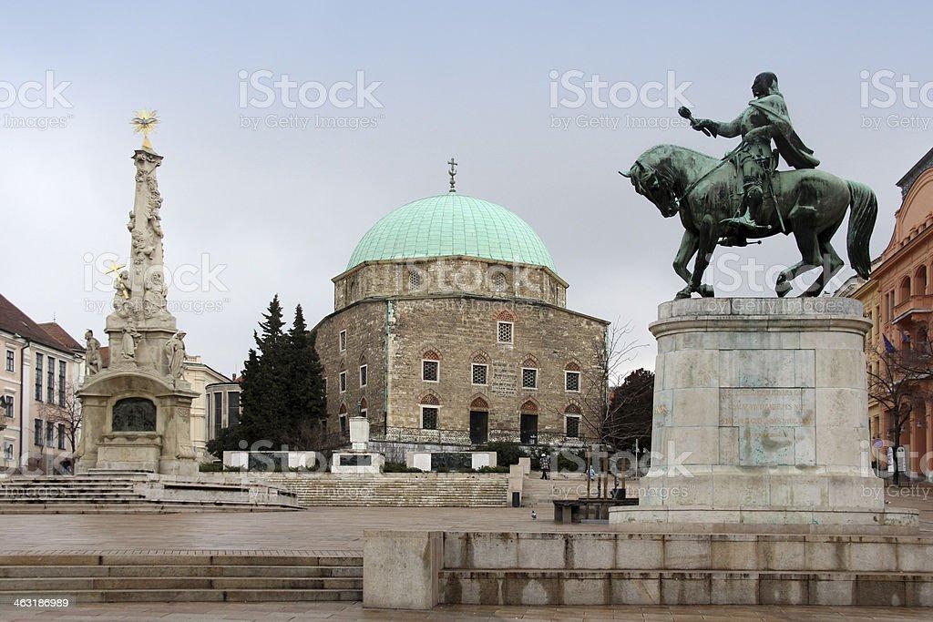 Main square in Pecs, Hungary stock photo