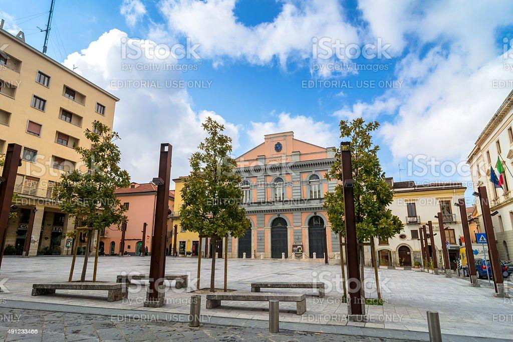 main square in Potenza, Italy stock photo