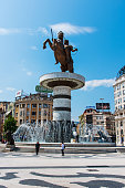 Skopje, Macedonia - August 26, 2017: Main square in Skopje, capital city of Macedonia with Alexander the great monument on a sunny day