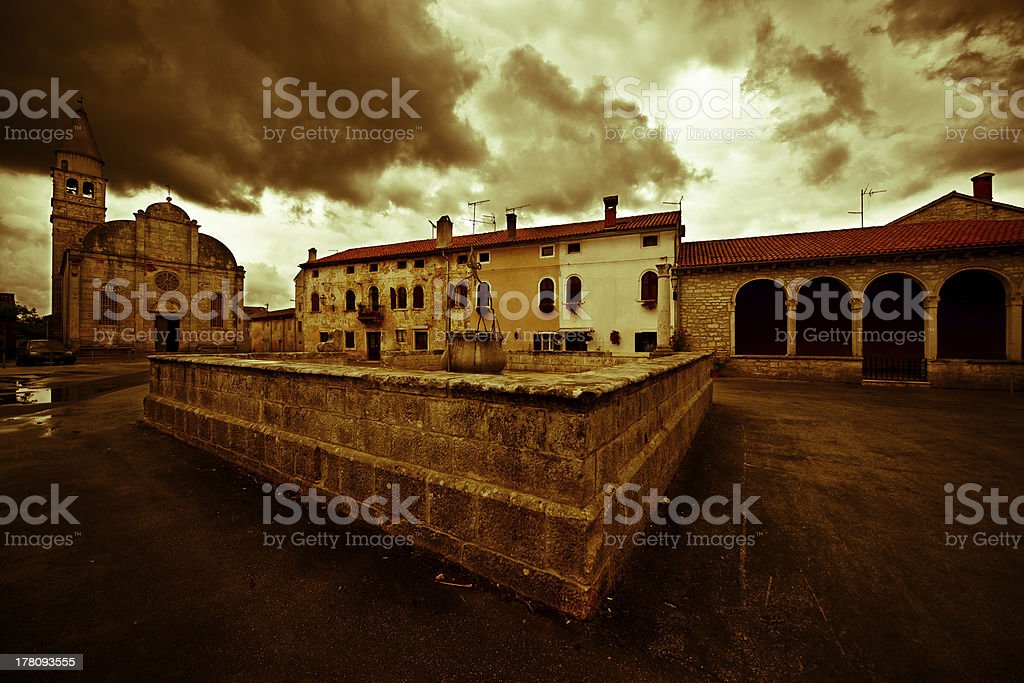 Main square in Svetvincenat Croatia stock photo