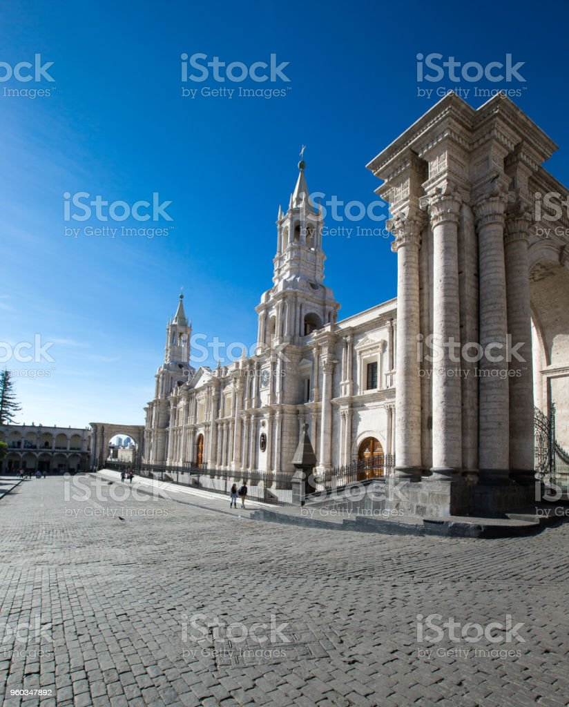 AREQUIPA PERU NOVEMBER 9: Main square of Arequipa with church on november 9 2015 in Arequipa Peru. Arequipa's Plaza de Armas is one of the most beautiful in Peru. stock photo