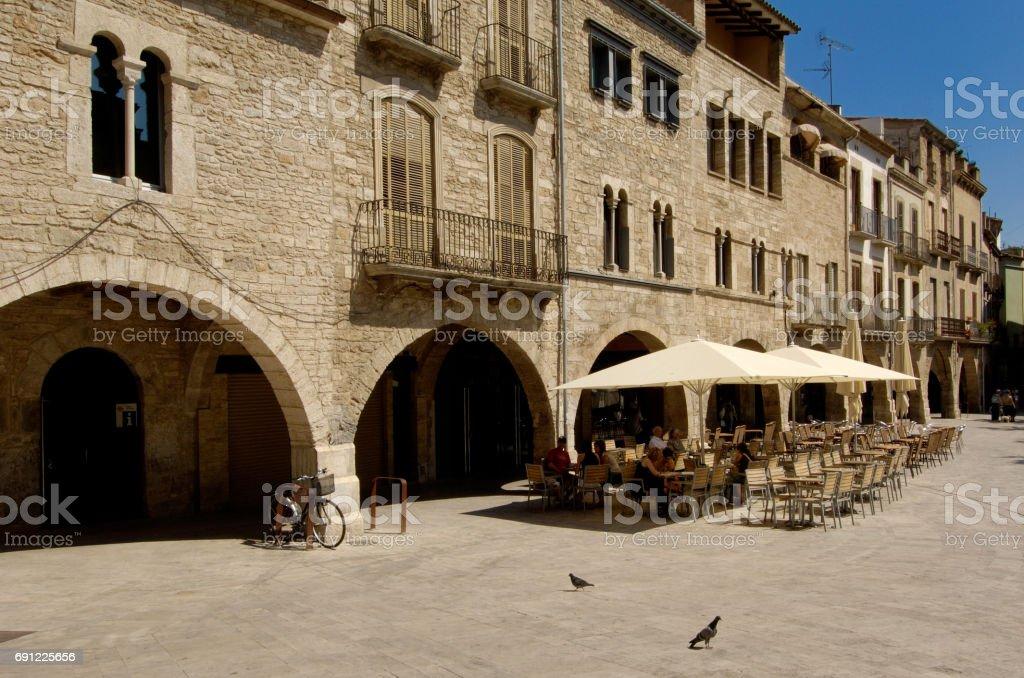 Main square of Banyoles, Girona province, Catalonia, Spain stock photo
