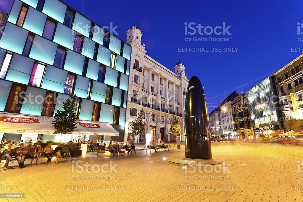 Main Square of Brno by Night stock photo