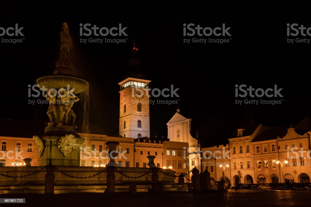 Main square of Budweis and Black Tower at night stock photo