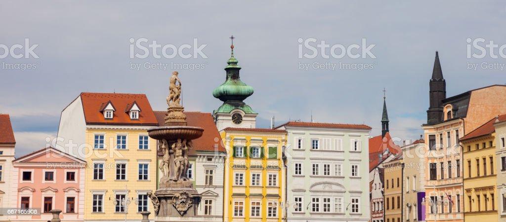 Main Square of Ceske Budejovice stock photo