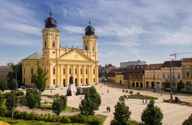Main square of Debrecen city, Hungary stock photo