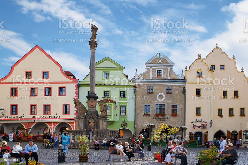 Main square of Český Krumlov stock photo