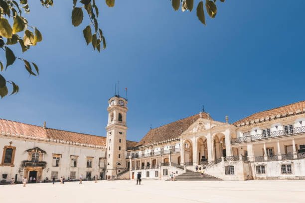 main square of historic university of Coimbra stock photo