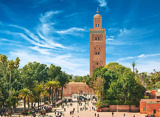 Main square of Marrakesh Main square of Marrakesh in old Medina. Morocco. minaret stock pictures, royalty-free photos & images