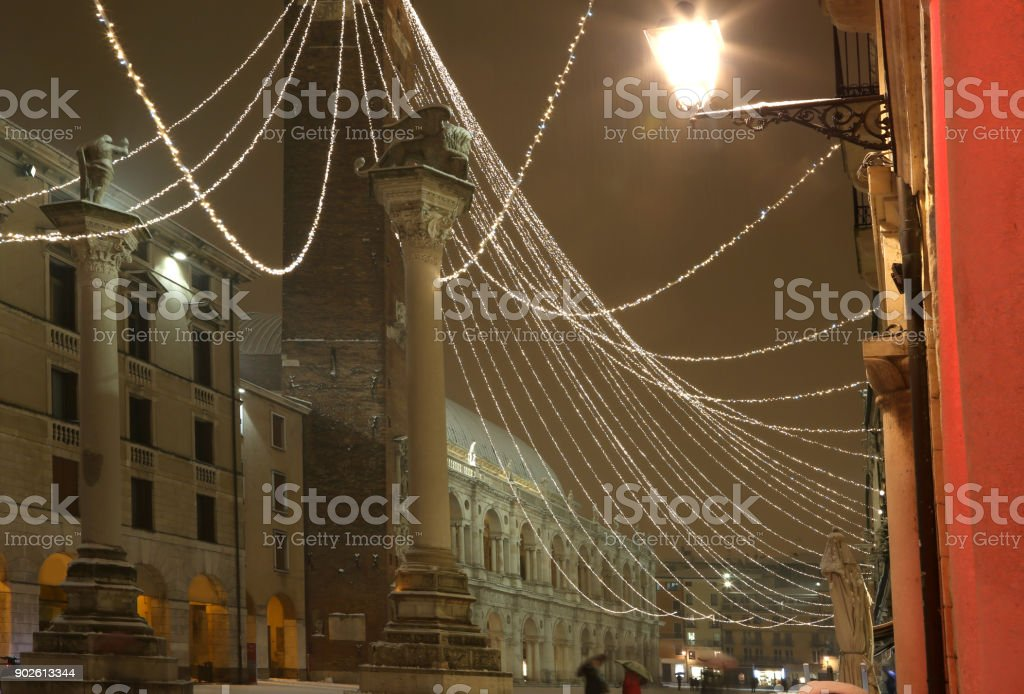 Main square of VICENZA City in Italy with many lights stock photo