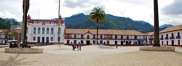 Main square of Zipaquira Colombia stock photo