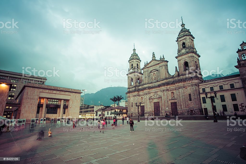 main square with church, Bolivar square in Bogota, Colombia, Lat stock photo