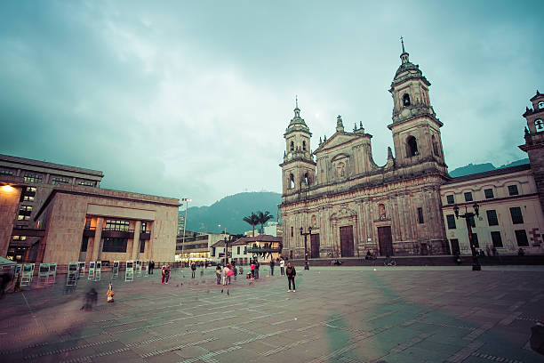 main square with church, bolivar square in bogota, colombia, lat - ボゴタ ストックフォトと画像