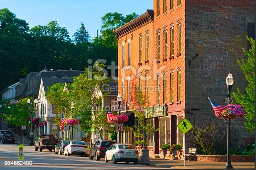 Chagrin Falls, OH, USA - June 28, 2015: North Main Streen in Chagrin Falls is lined with popular shops and restaurants that maintain a vintage charm in this Cleveland suburb.