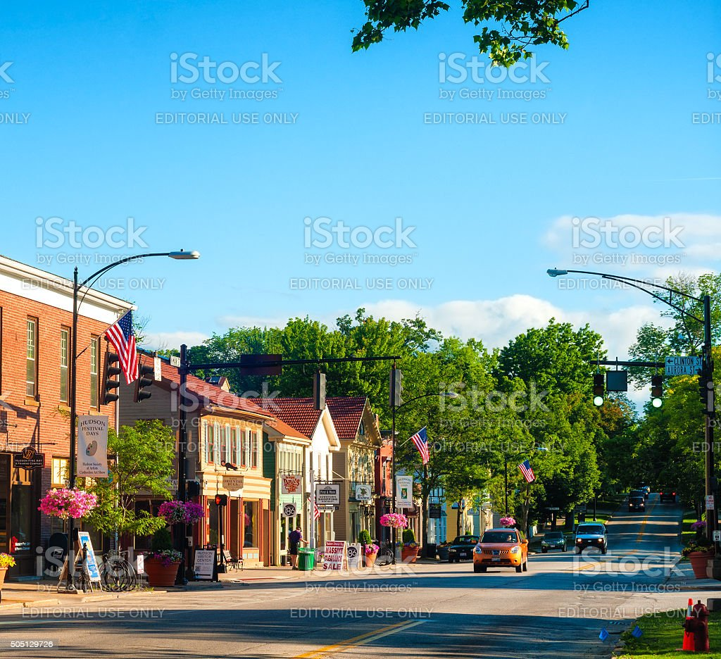 Main Street across stock photo