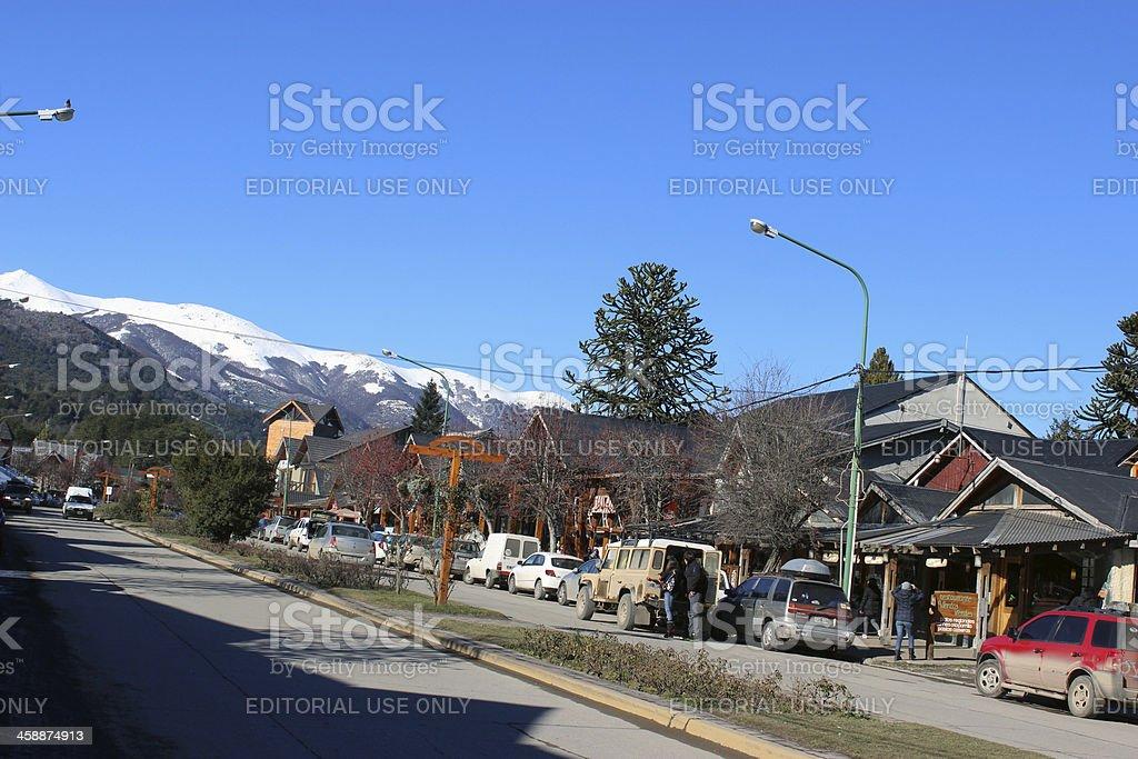 Main street at Villa La Angostura City - Argentina stock photo