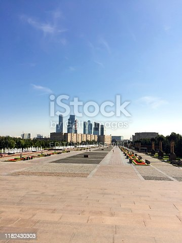 Diveevo, Russia - 30 August, 2018: Main street at War memorial in Victory Park on Poklonnaya Hill, Moscow, Russia. The memorial complex constructed in memory of those who died during the Great Patriotic war, VERTICAL