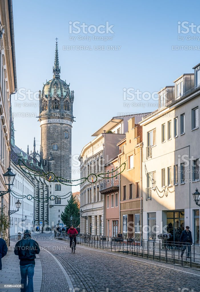 Main street at Wittenberg, Germany leading to the famous church stock photo