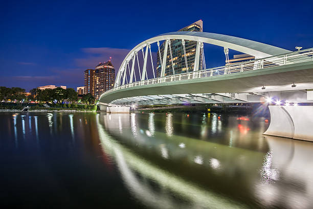 Main Street Bridge Downtown Columbus Ohio Spanning Scioto River HDR stock photo