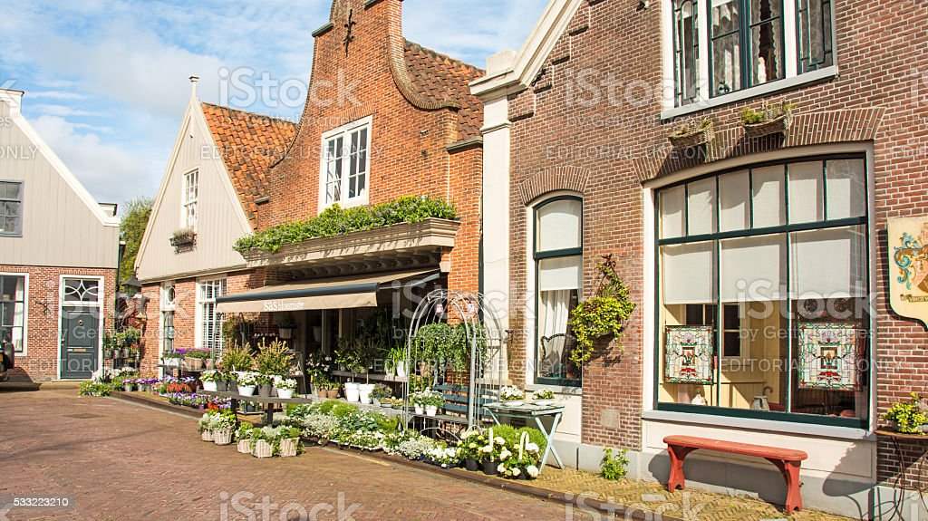Main Street buildings  in Edam, Neatherlands- stock photo